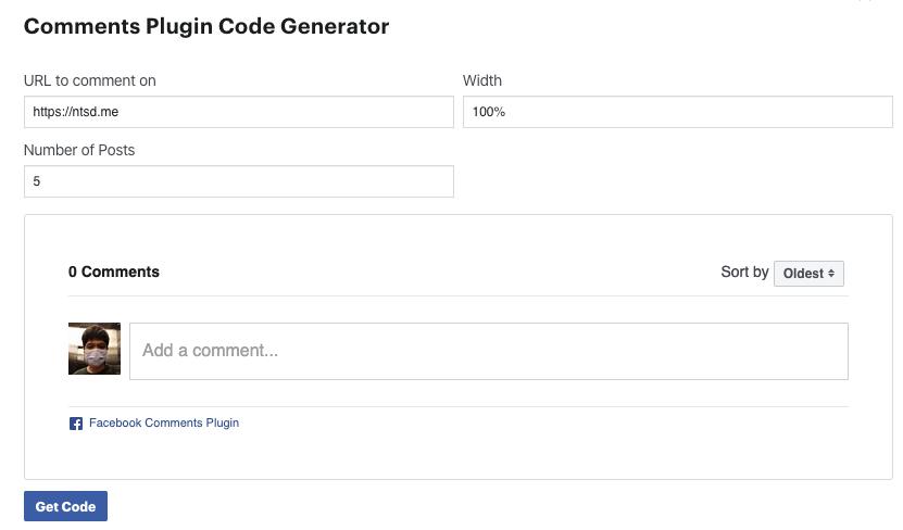 get Facebook comment code