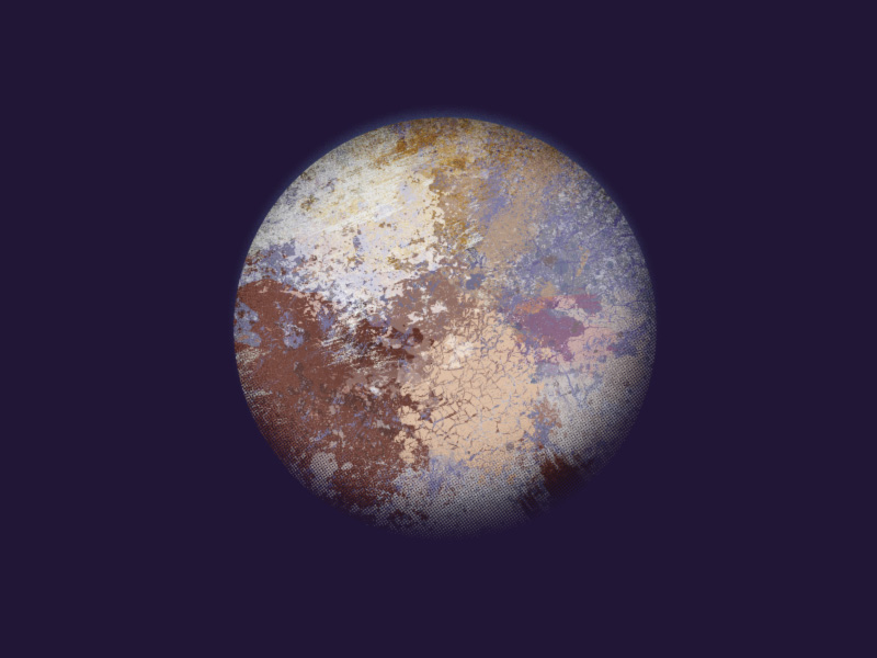 Picturesque illustration of the dwarf planet Pluto