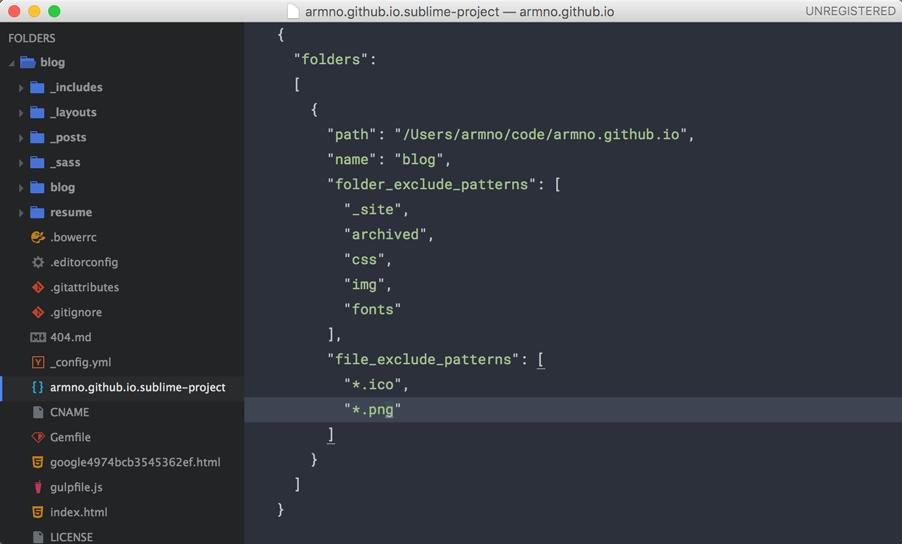 ตัวอย่าง project settings