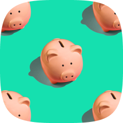 Array of five piggy banks