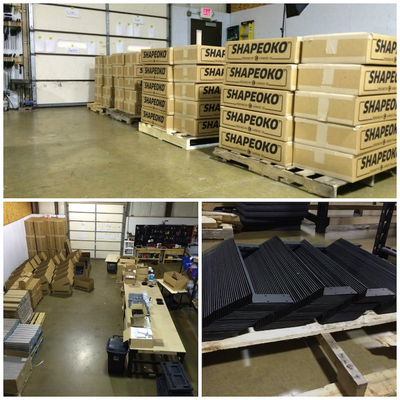 Piles of Shapeokos waiting for a pickup and lots of parts ready for packing in our Illinois shop.
