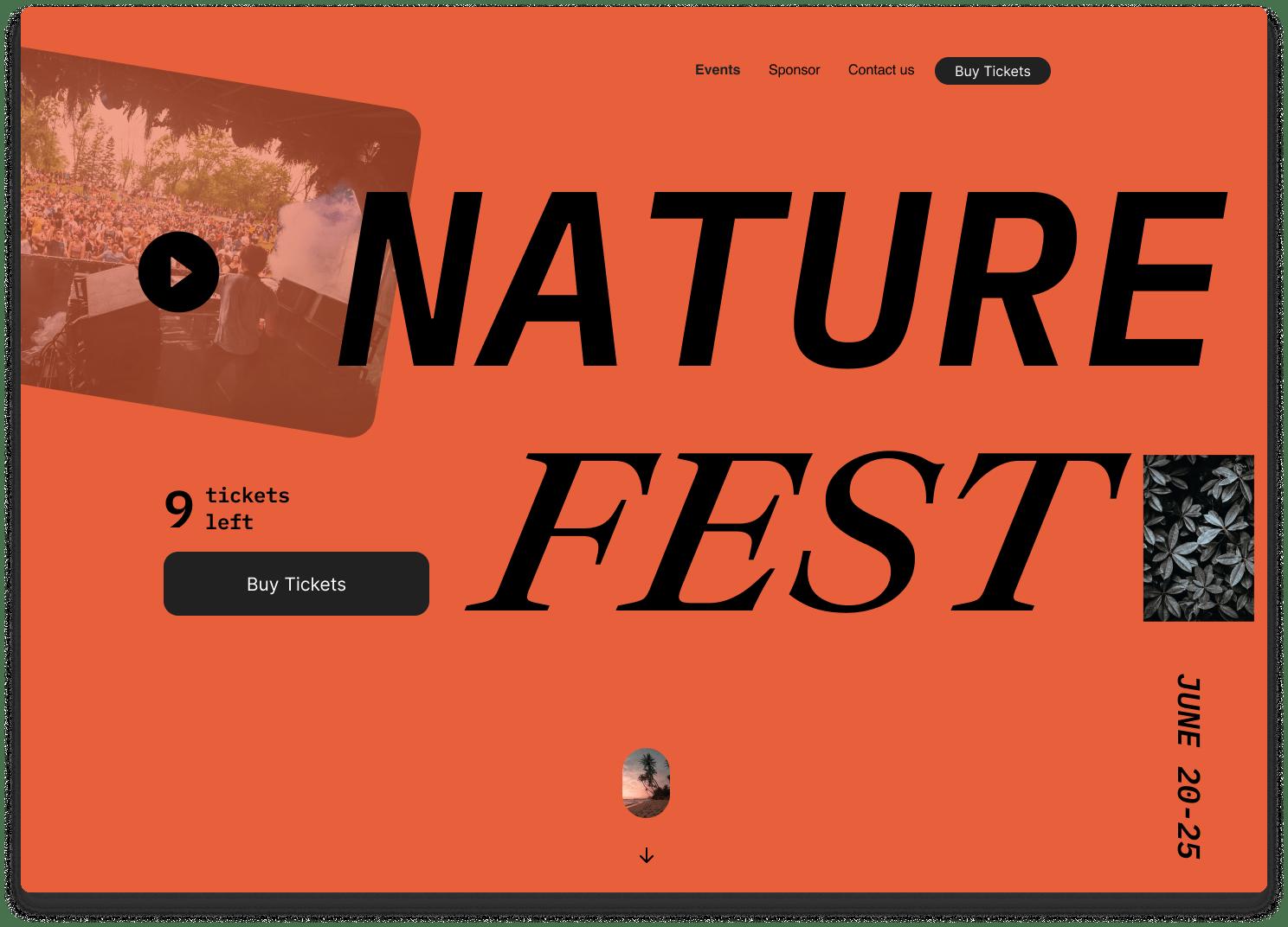 Nature fest website landing page