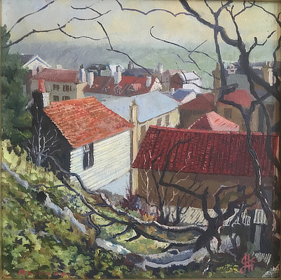 painting of rooftops as seen through tree branches giving vignette effect