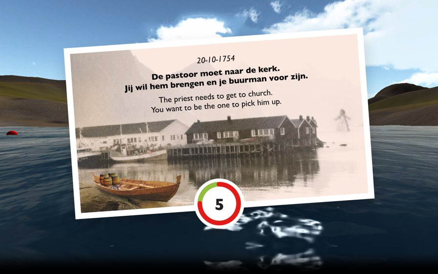 Exhibit screen showing a story and countdown