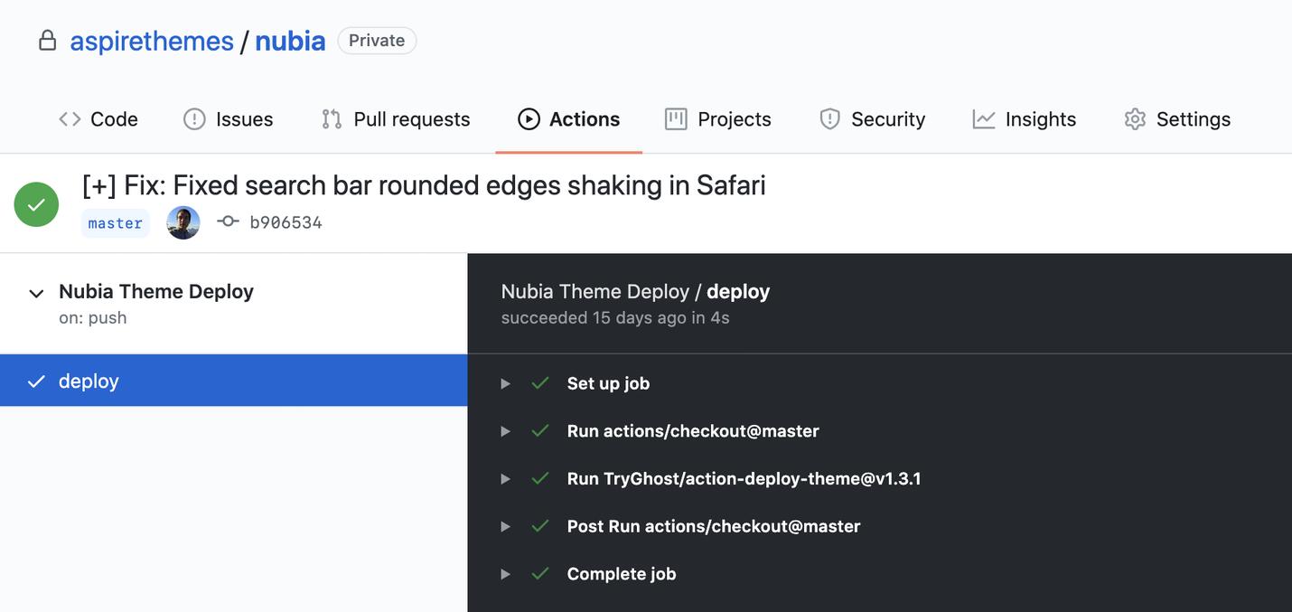 Nubia Documentation GitHub Actions