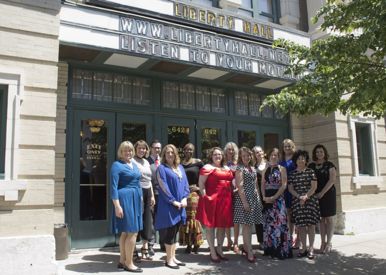 "The ""cast"" of the Listen to Your Mother Kansas City in front of      the theater we spoke at"