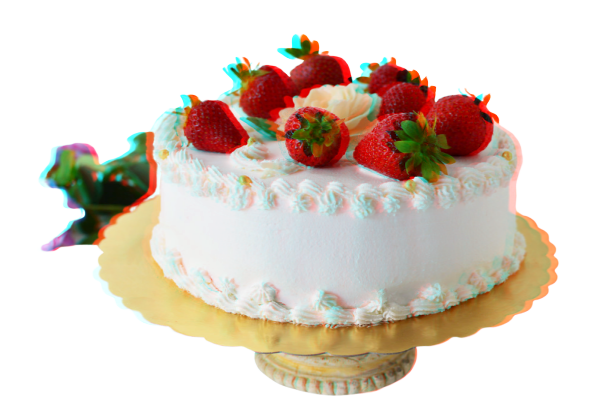 bolo de morango com glacê branco, foto com efeito 3D da hora