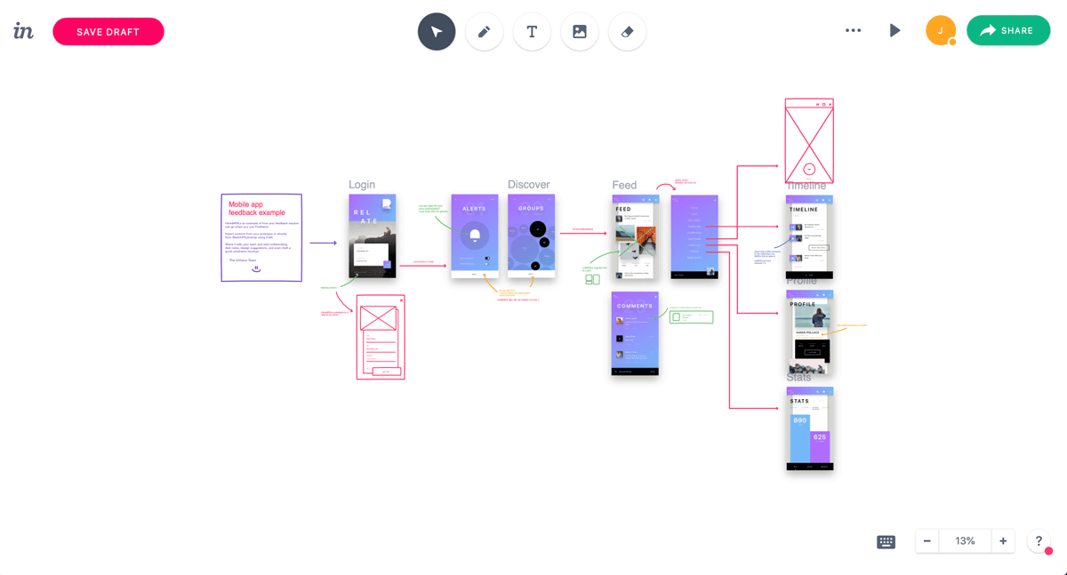 Invision Freehand mobile app wireframe