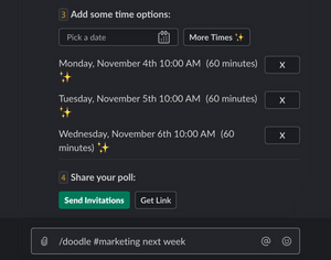 The Doodle Bot helps users coordinate meeting times across teams