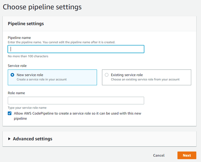 AWS pipeline settings panel with no details entered