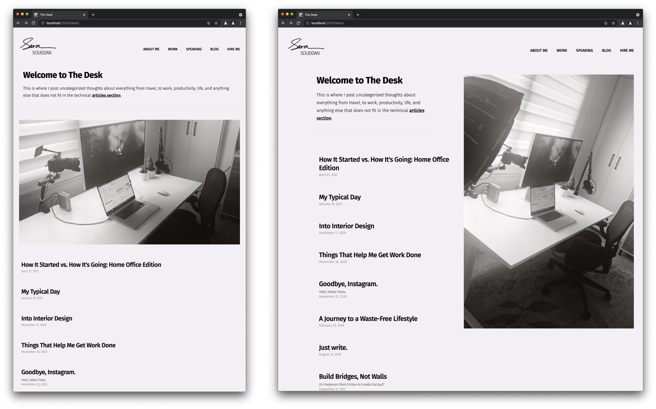 A screenshot of the Desk page showing two different photos of my desk setup on narrower and wider screens.