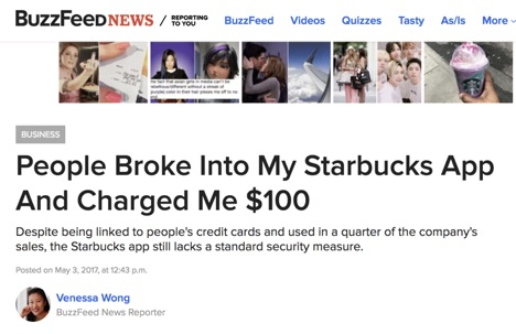 People broke into my Starbucks App and Charged Me $100