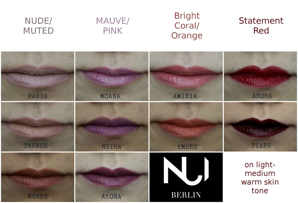 NUI Berlin Lipsticks Swatches