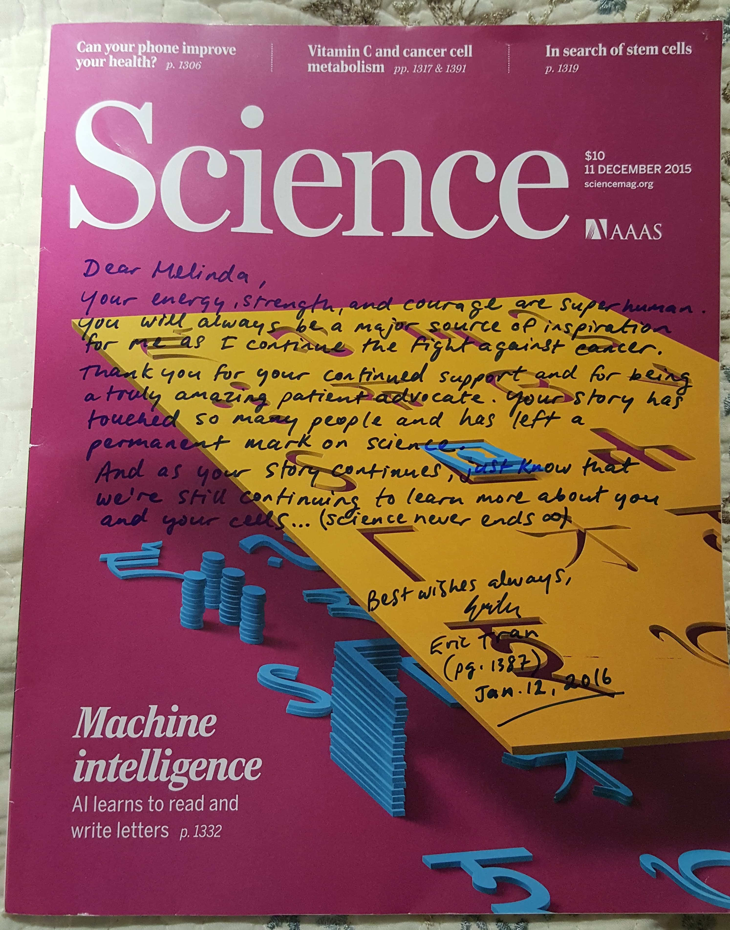 Message written by Dr Tran on the pink cover of a Science magazine