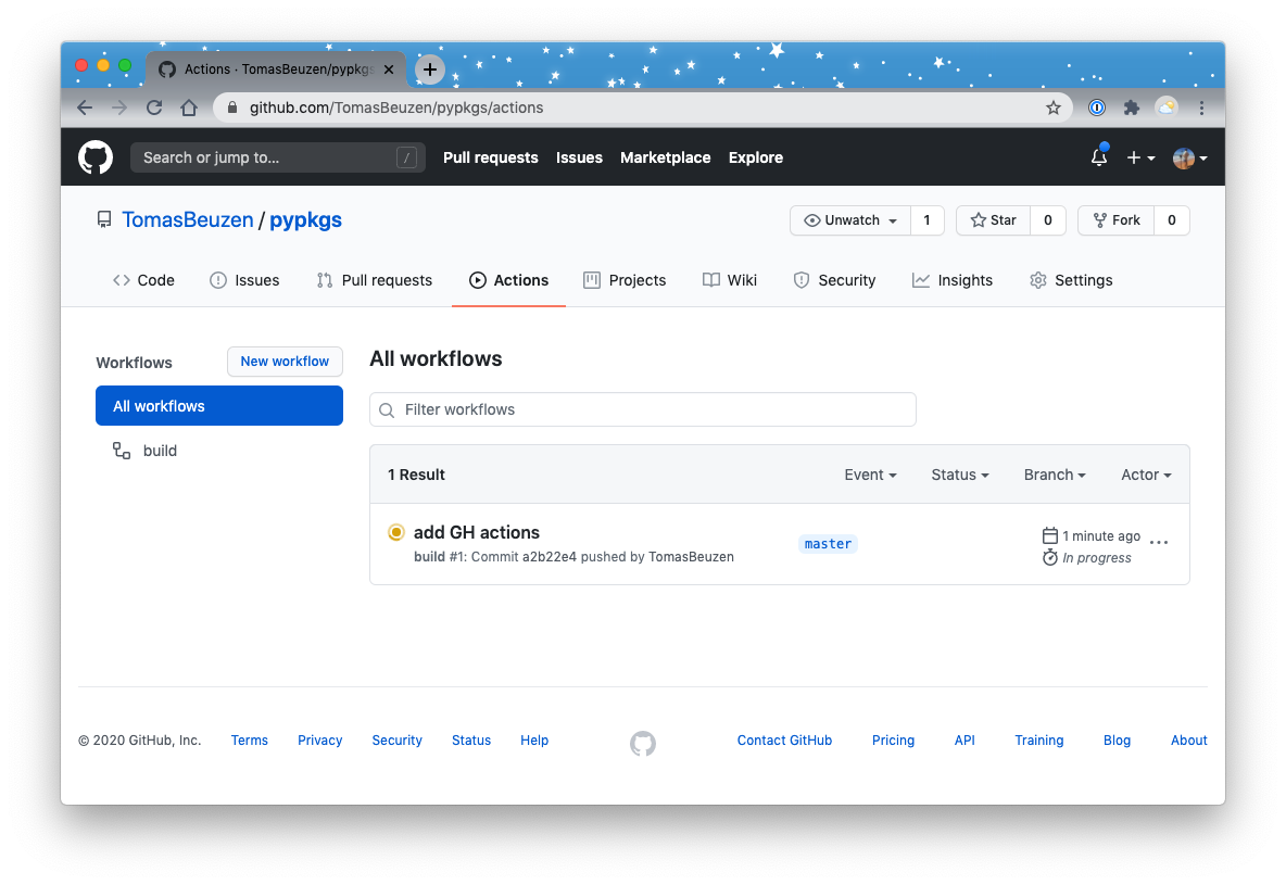 Continuous Integration (CI) pipeline running on GitHub.
