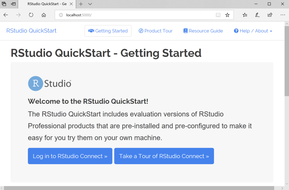 The RStudio QuickStart home page