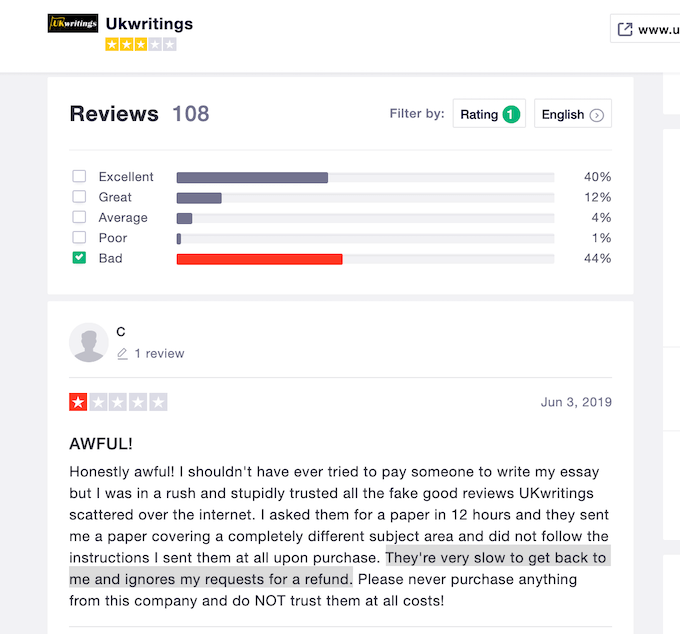ukwritings.com got a lot of angry clients on trustpilot
