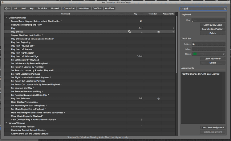 The search for key command window in Logic Pro X