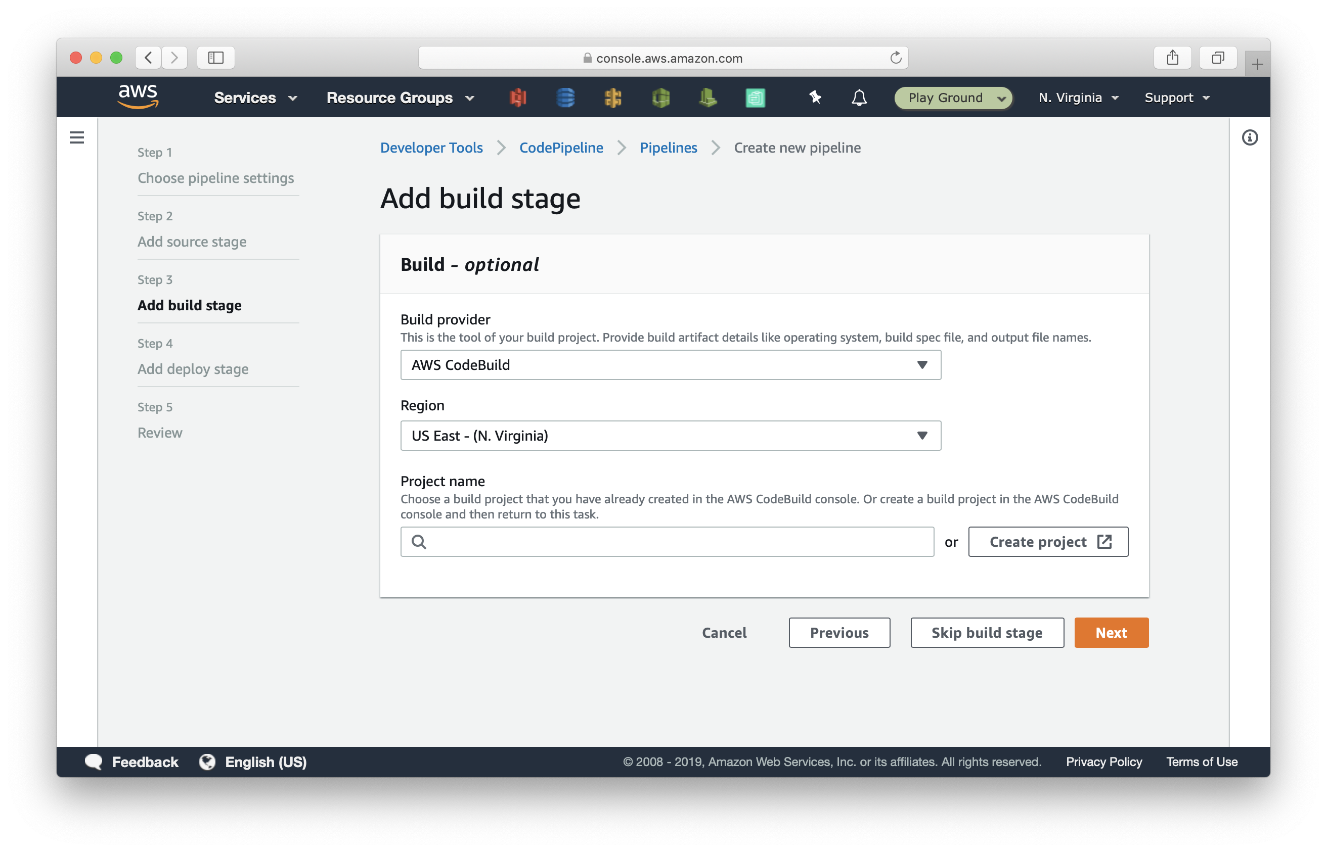 Select CodeBuild as provider in CodePipeline pipeline