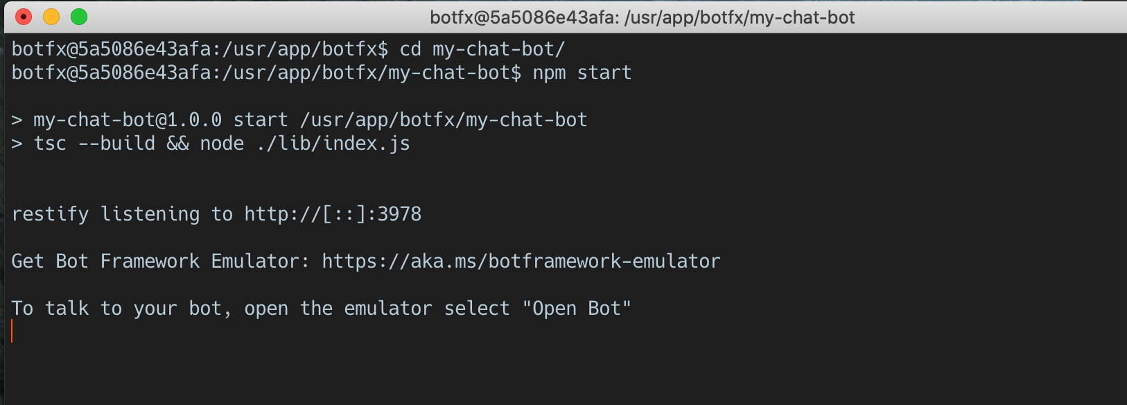 Chat running in Docker container