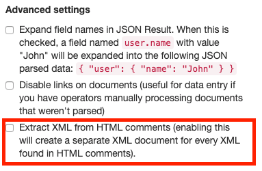 New extract XML setting