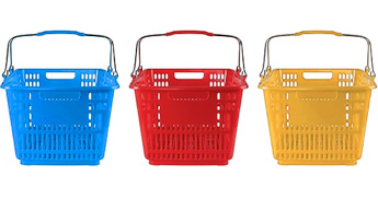 primary colored shopping baskets