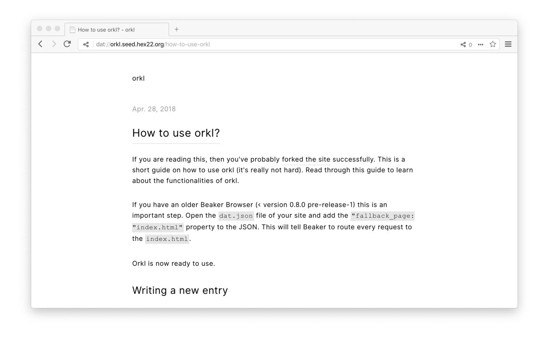 Screenshot of orkl