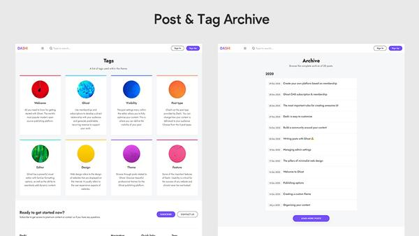 Dashi Ghost Theme Custom Pages