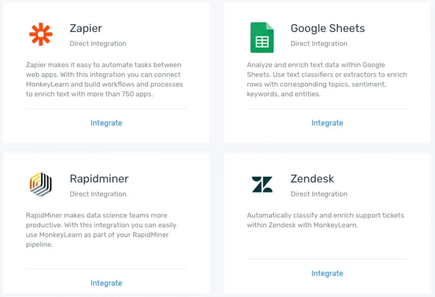 Integrations available on MonkeyLearn