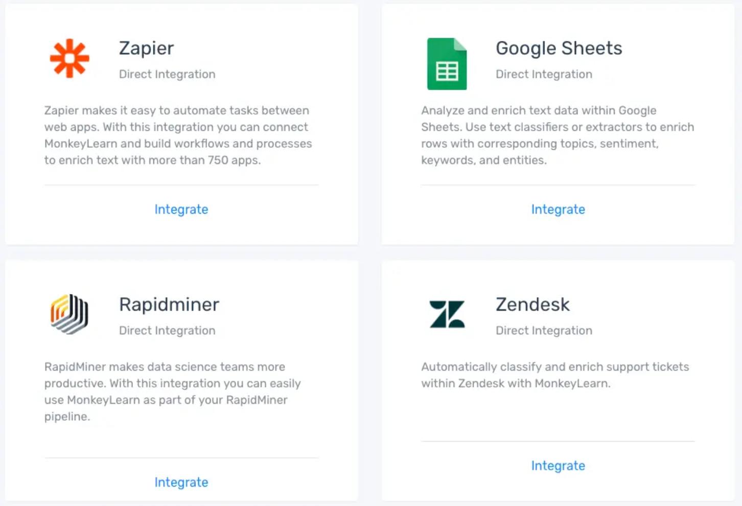 MonkeyLearn integrations: Zapier, Sheets, Rapidminer, Zendesk, and more.