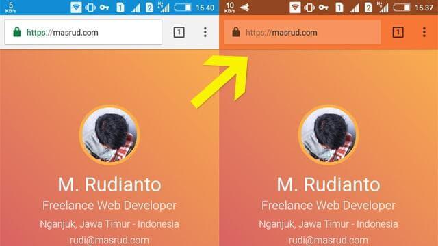 Mengubah warna address bar website pada browser smartphone