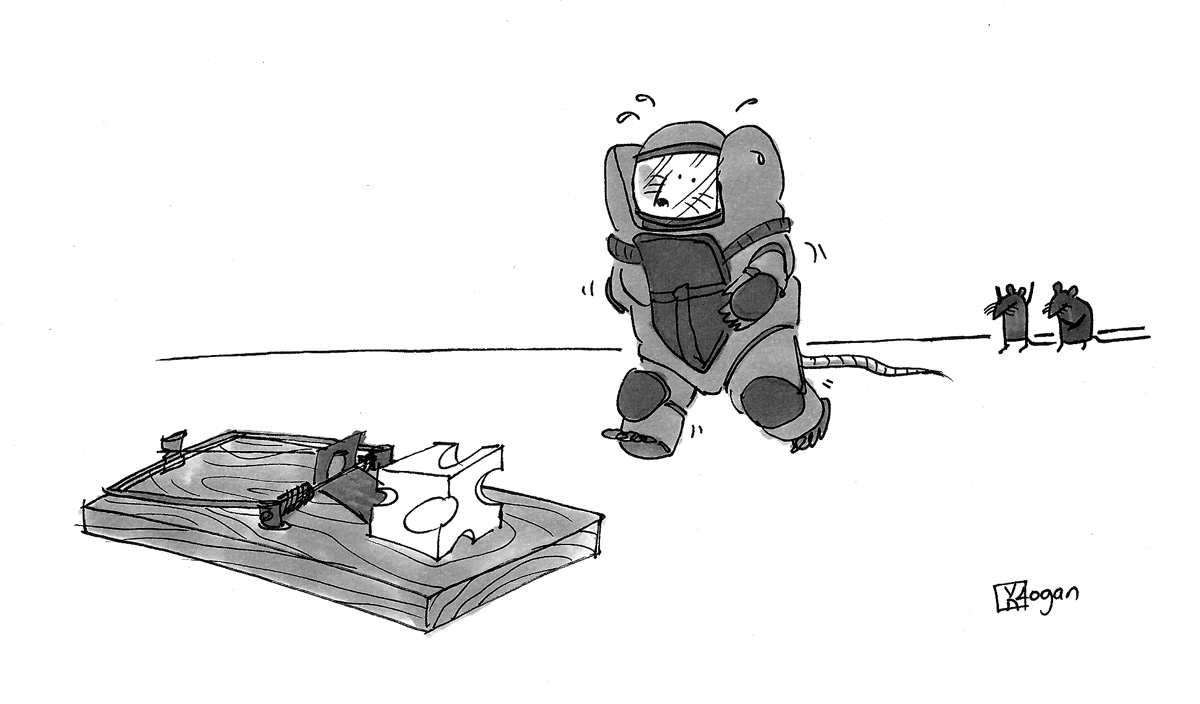 (A mouse in a bomb suit approaches cheese in a mousetrap.)