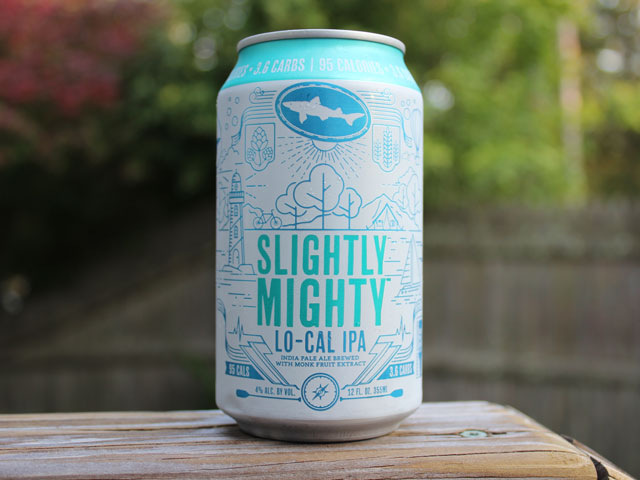 Slightly Mighty, a Lo-Cal IPA brewed by Dogfish Head Craft Brewery
