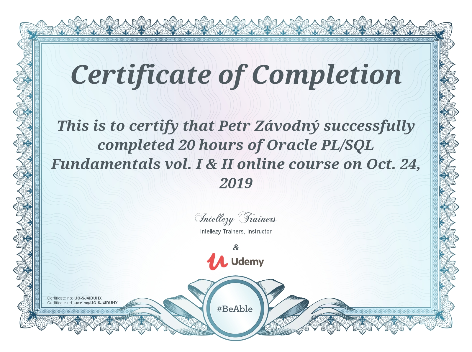 certificate Oracle PL/SQL Fundamentals vol. I & II