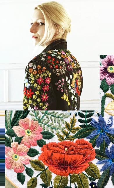 Broderie fleuries sur une veste