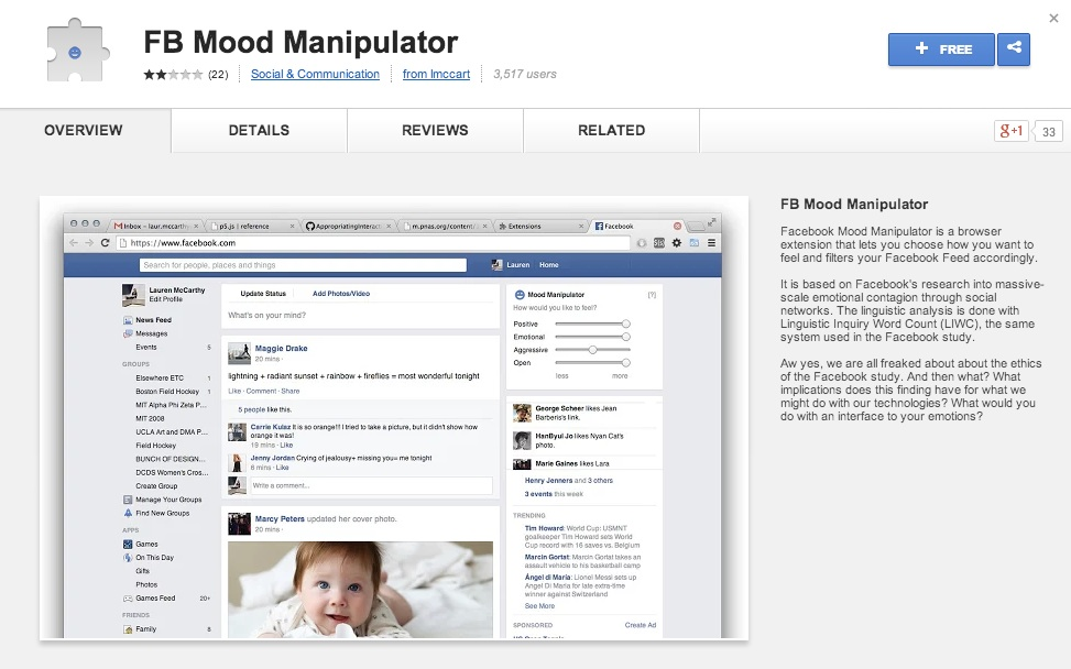 """a screenshot of the Mood Manipulator at the app store: saying it lets you """"choose how you want to feel and to filter your Facebook feed accordingly."""""""