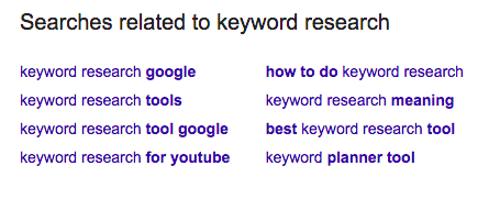 Search results related to keyword research.
