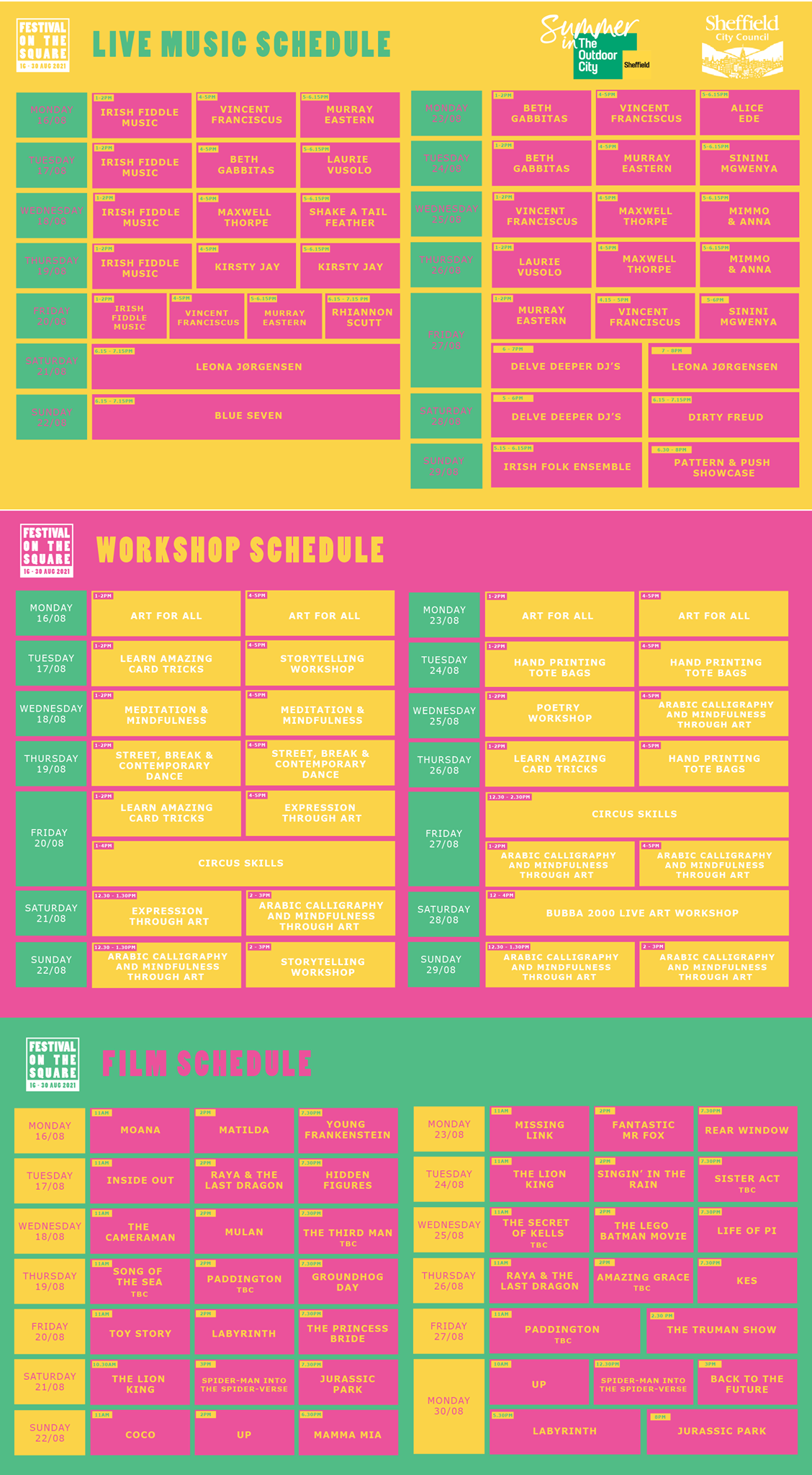 The lineup for the festival on the square in sheffield