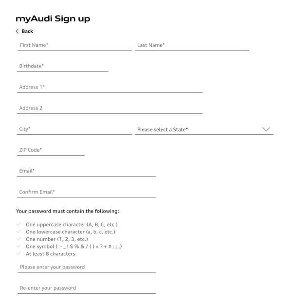 myAudi Get Started button