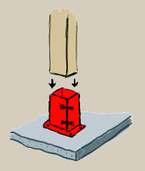 A hand-drawn schematic of a bolt-down fixing, demonstrating mounting a post directly down into the fixing