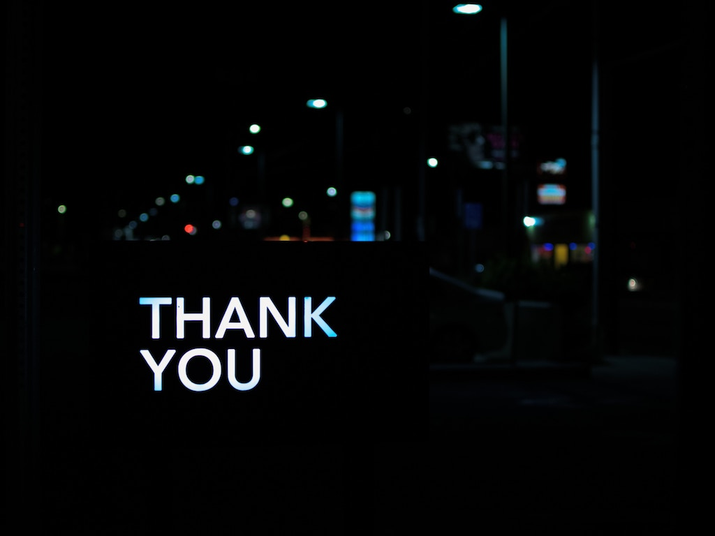 Thank you sign - Photo by Pete Pedroza on Unsplash
