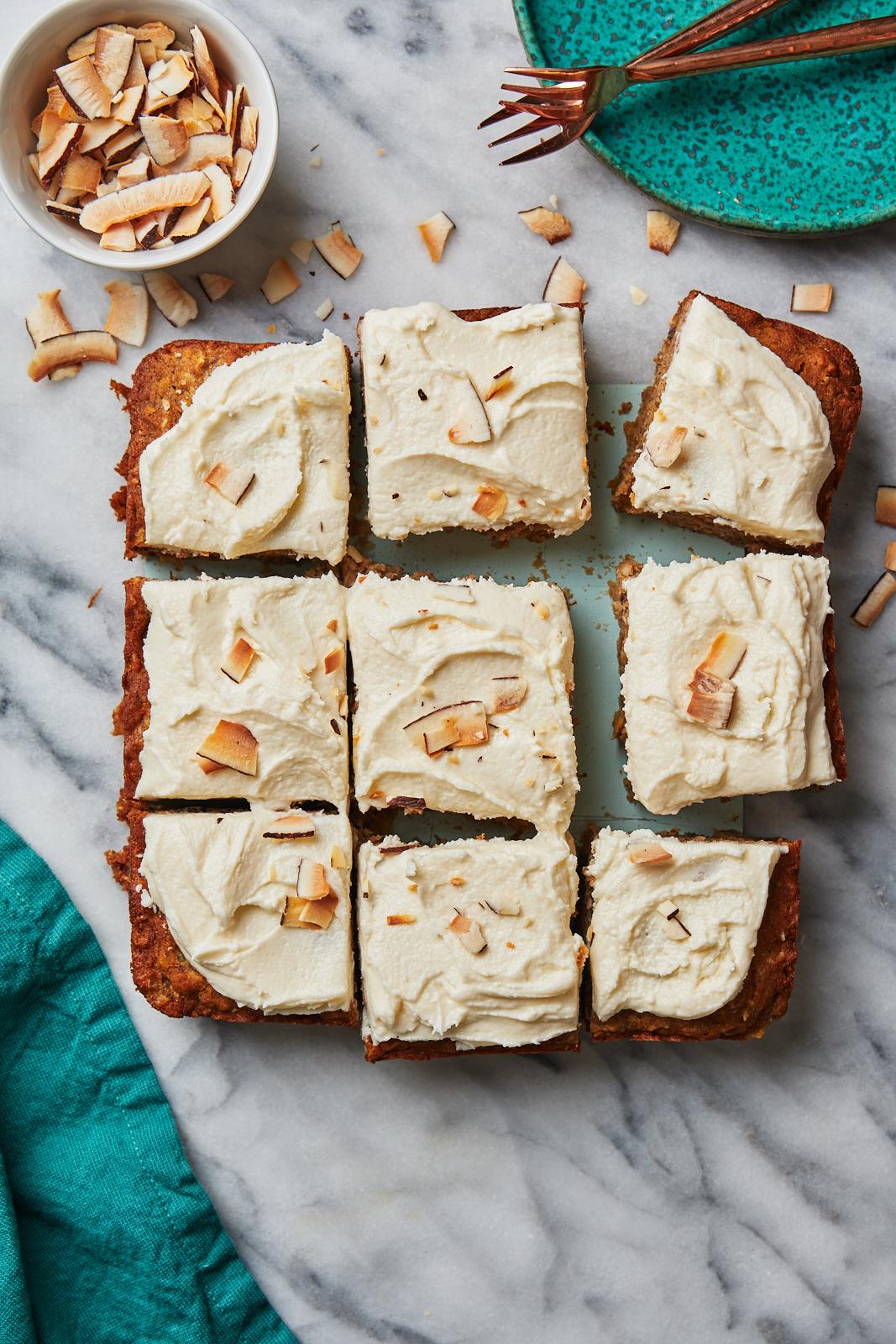 Vegan Hummingbird Cake with pieces cut