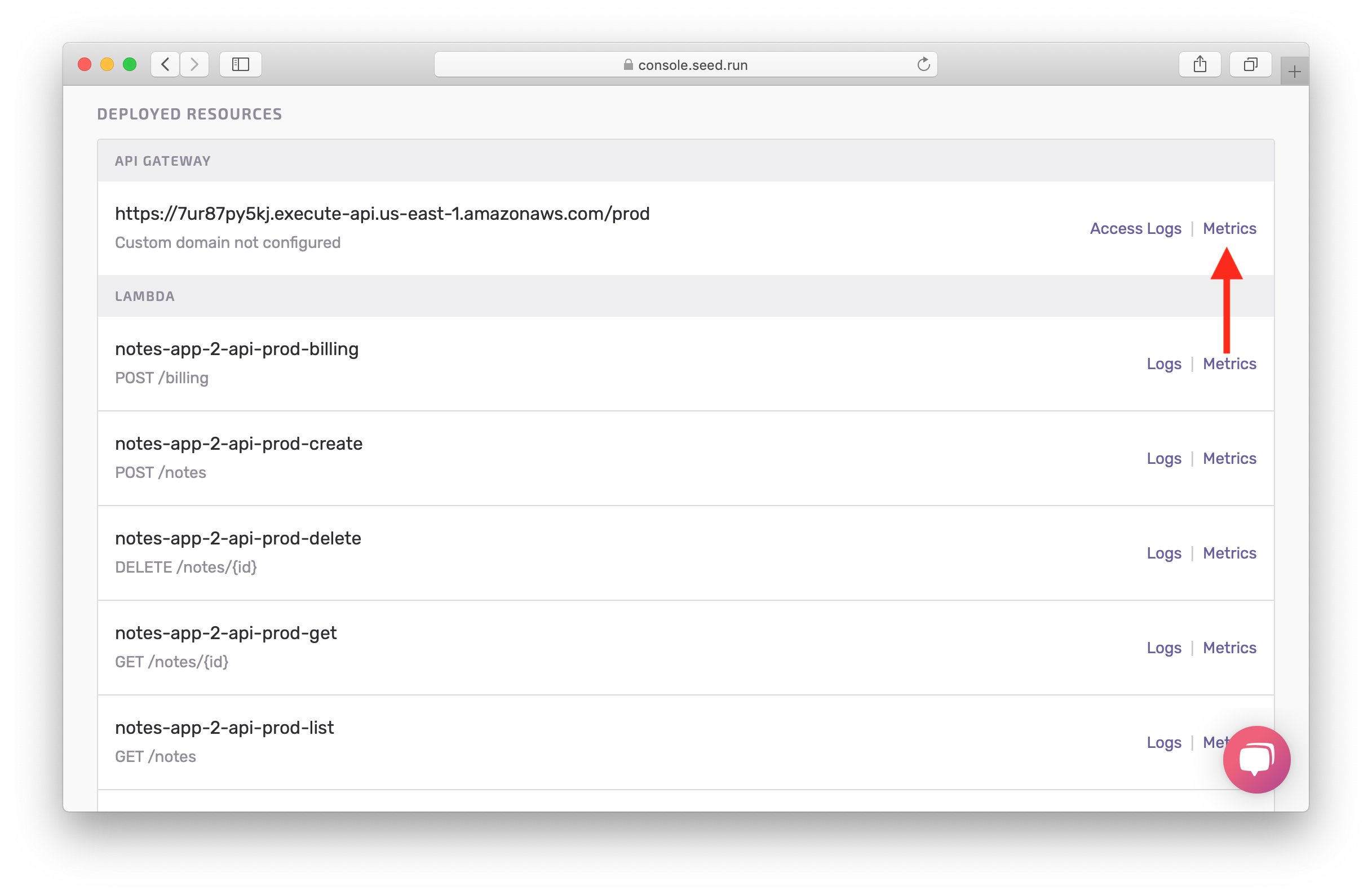 Click API metrics in prod screenshot