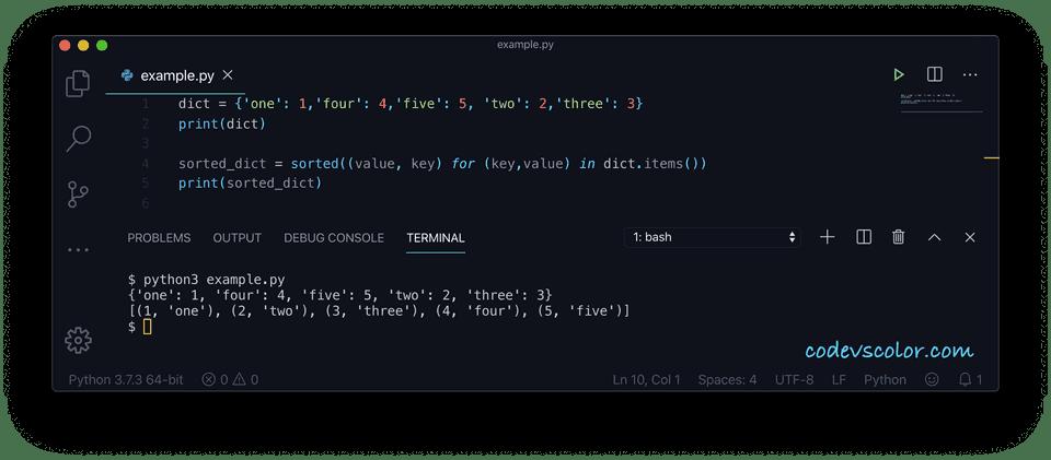 Python sort dictionary list comprehension