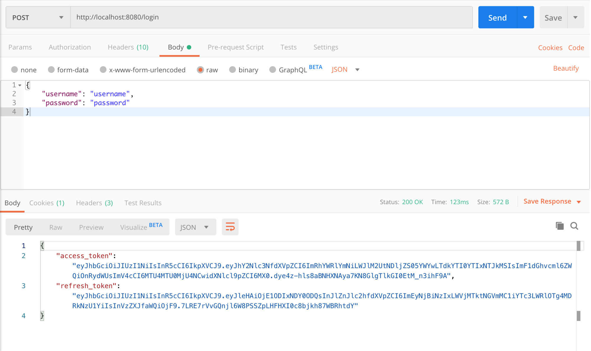 Checking the access and refresh token reponse in Postman