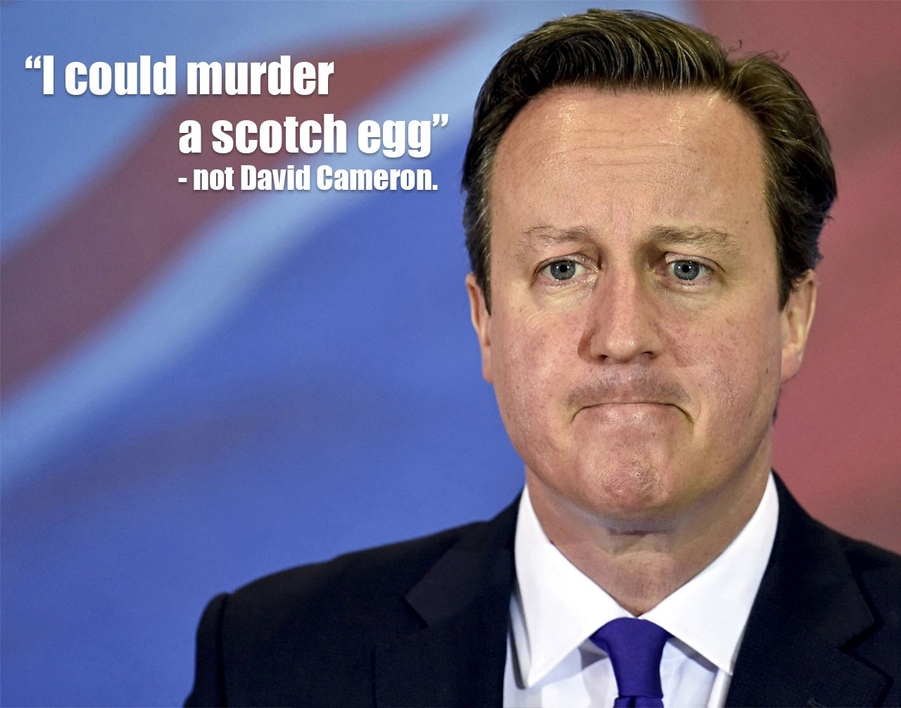 A photo of David Cameron with the false quote