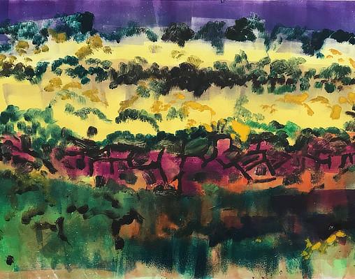 colourful monoprint of landscape