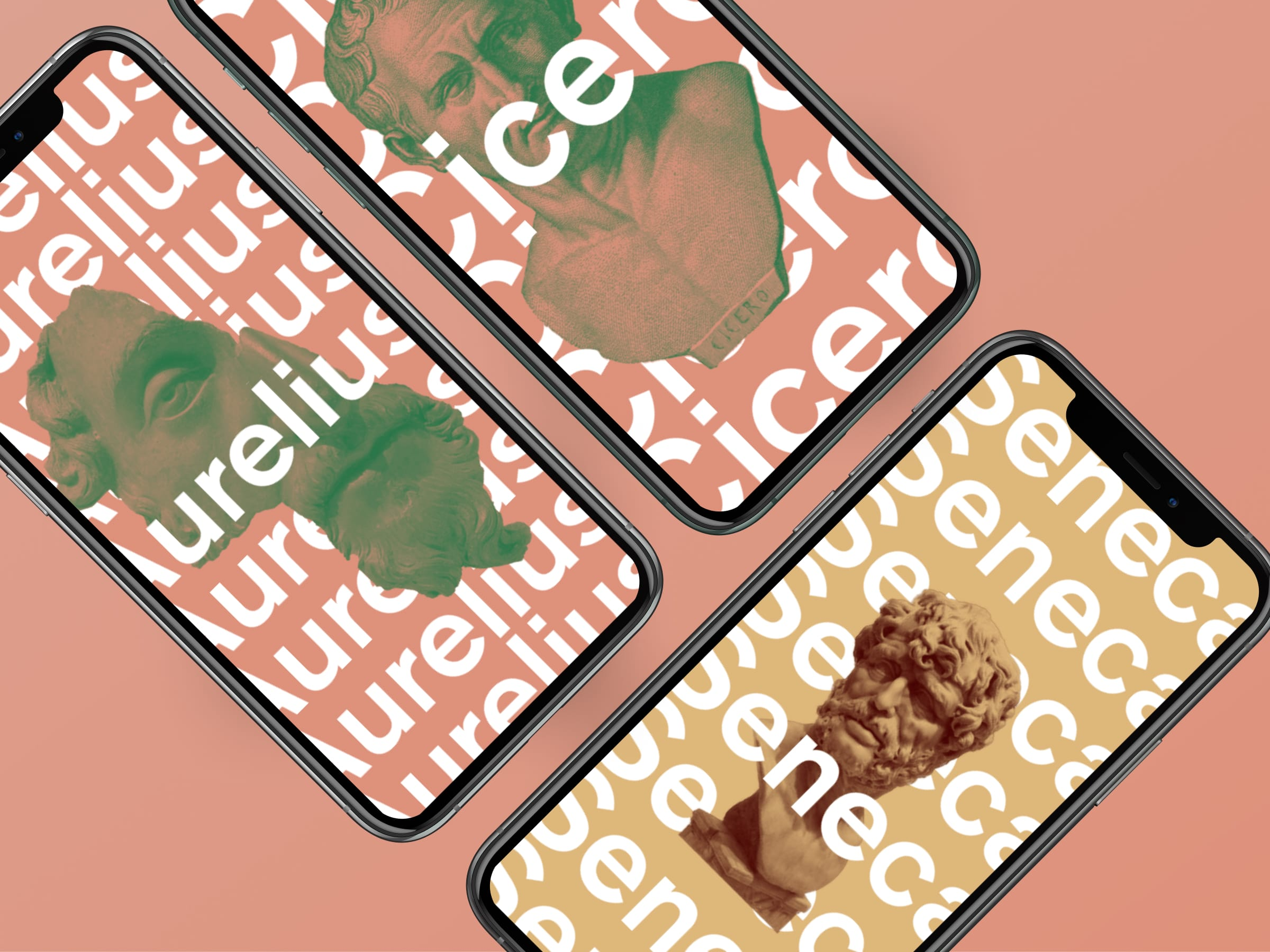 3 iphones with stoic philosopher backgrounds