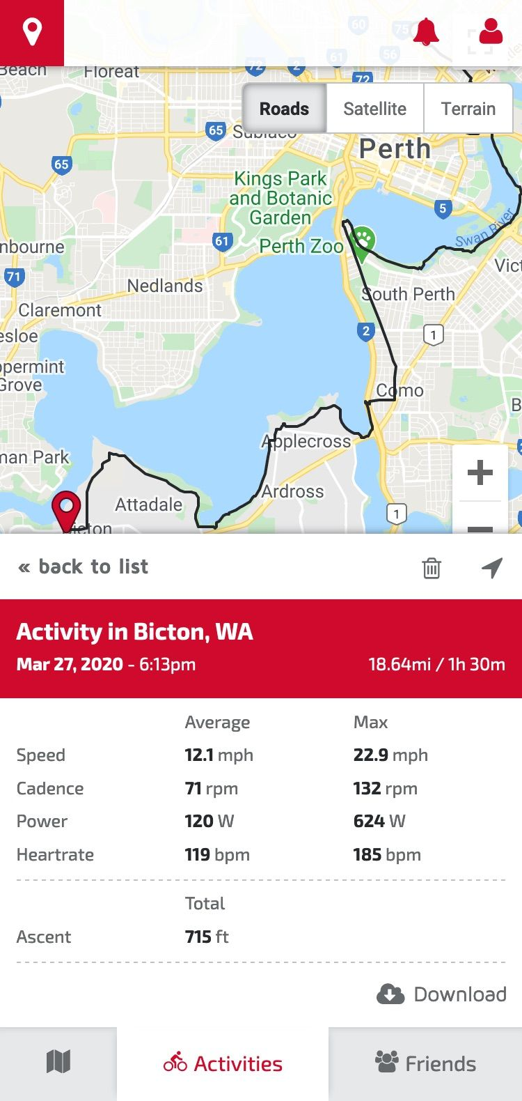 Mobile view of a bike ride path, along with ride metrics
