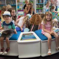 Children in Halesworth Library's refurbished children's area